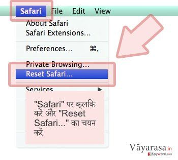 'Safari' पर क्लिक करें और 'Reset Safari...' का चयन करें
