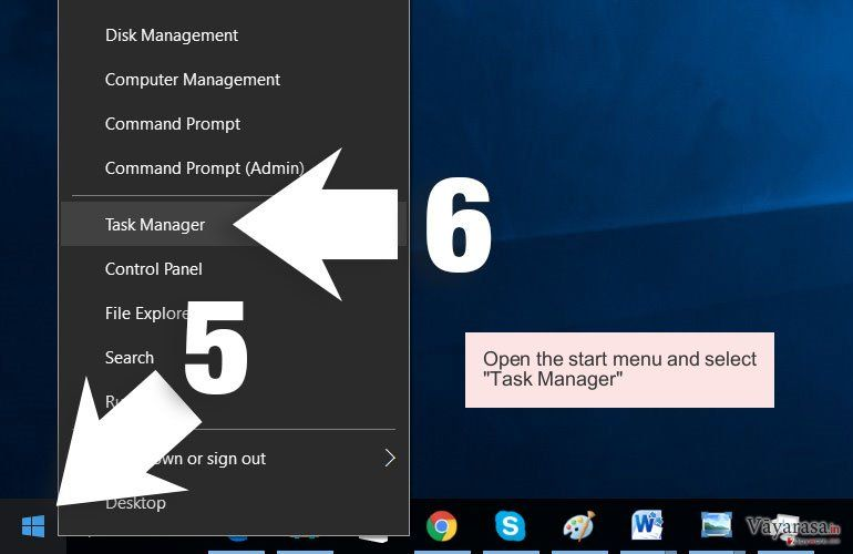 Open the start menu and select 'Task Manager'